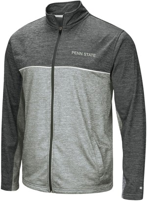 Colosseum Men's Heathered Gray Penn State Nittany Lions Big & Tall Banked Full-Zip Fleece Jacket