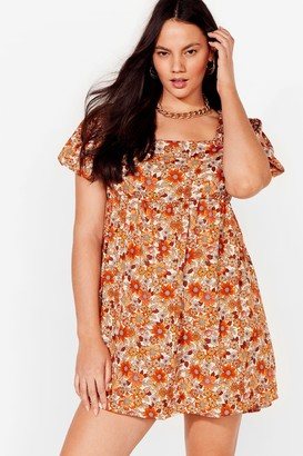 Nasty Gal Womens Fall-ing in Love Plus Floral Mini Dress - Orange