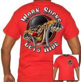 Biker Life Clothing Biker Life USA Work Sucks Clown Motorcycle T-Shirt