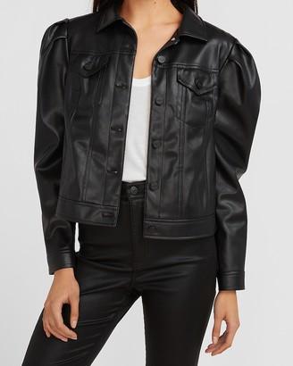 Express Vegan Leather Puff Sleeve Trucker Jacket