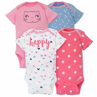 Gerber Baby Girl's 4-Pack Short-Sleeve Onesies Bodysuits Shirt