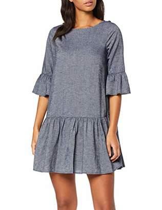 Yargıcı Womens 9YKEL71X Frills Round Collar 3/4 Sleeve Dress - Blue