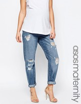 Asos Brady Slim Boyfriend Jeans In Avaline Mid Wash With Over The Bump Waistband With Under The Bump Waistband