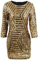 Romacci Sexy Women Bandage Dress Sheer Sequins 3/4 Sleeve Party Mini Dress