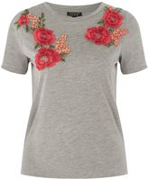 Topshop Floral Applique T-Shirt