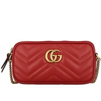 Gucci Gg Marmont Bag In Genuine Chevron Leather