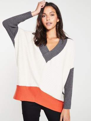 River Island V Neck Grey Block Knitted Jumper-grey