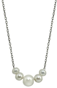 Aqua Sterling Silver Graduated Freshwater Pearl Necklace, 15.5 - 100% Exclusive
