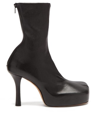 Bottega Veneta Bold Square-toe Leather Platform Boots - Black