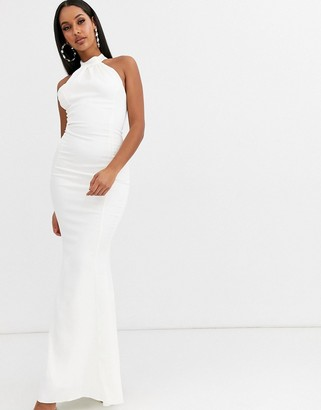 Lipsy high neck bridal dress-White