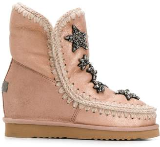 Mou knitted detail boots