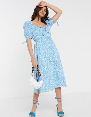 Fashion Union milkmaid midi dress in floral print
