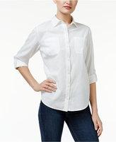 Karen Scott Petite Roll-Tab Shirt, Only at Macy's