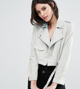 Missguided Petite Exclusive Faux Suede Biker Jacket