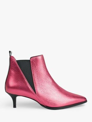 Hush Penrose Kitten Heel Leather Slip-On Ankle Boots, Metallic Pink