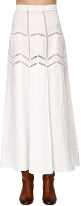 Gabriela Hearst Lvr Sustainable Linen Herringbone Skirt