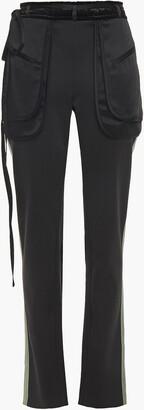 Valentino Velvet-trimmed Satin-crepe Slim-leg Pants
