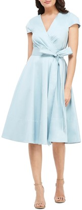 Gal Meets Glam Addison Cotton Tie Waist Fit & Flare Wrap Dress