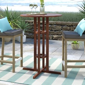 Beachcrest Home Rothstein Solid Wood Bar Table