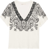 Maje Trust embroidered slub linen-jersey top