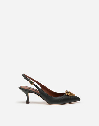 Dolce & Gabbana Quilted Nappa Leather Devotion Slingbacks