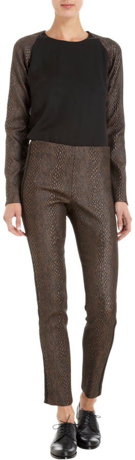 Wayne Snakeskin Effect Stretch Pants