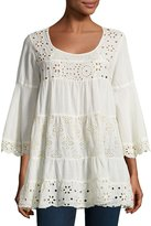 Johnny Was Bell-Sleeve Eyelet Tiered Tunic, Beige