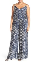 City Chic Plus Size Women's 'Barbed' Print V-Neck Jumpsuit