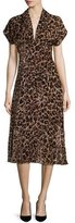 Alice + Olivia Brandee Draped-Neck Leopard-Print Midi Dress