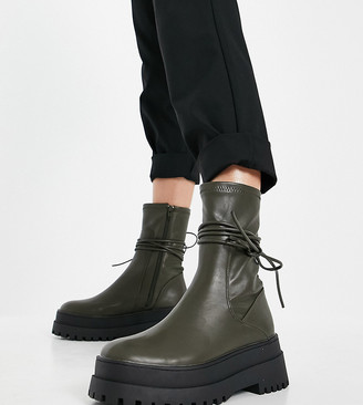 Public Desire Wide Fit Finale chunky flat ankle boots with tie in smooth olive