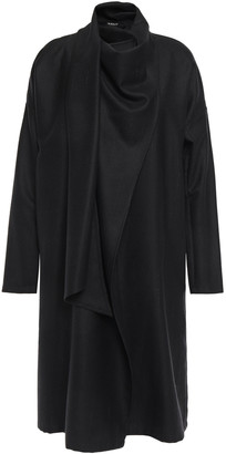 Ann Demeulemeester Draped Pinstriped Brushed Wool-blend Twill Wrap Dress