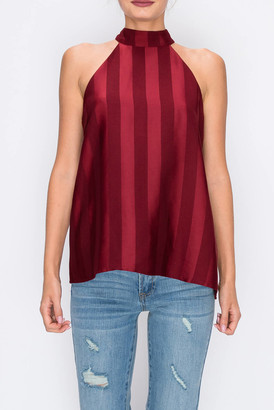 Endless Rose Striped Halter Top Wine XS