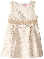 Lilly Pulitzer Abrianna Dress (Toddler/Little Kids/Big Kids) (Gold Metallic Lagoon Jacquard) Girl's Clothing