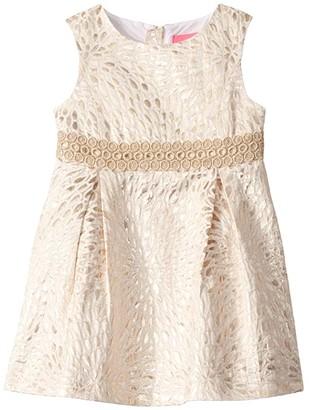 Lilly Pulitzer Abrianna Dress (Toddler/Little Kids/Big Kids) (Gold Metallic Lagoon Jacquard) Girl's Clothing