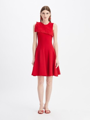 Oscar de la Renta Embroidered Draped A-Line Knit Dress