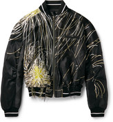 Haider Ackermann - Mandrake Distressed Metallic Jacquard Bomber Jacket