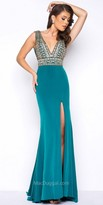 Mac Duggal Beaded Crepe Jersey Thigh Slit Prom Dress