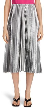 Balenciaga Metallic Pleated Wool Blend Midi Skirt