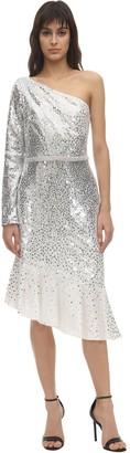 Marchesa Sequined One Shoulder Midi Dress