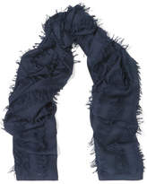 Chloé Fringed Wool And Silk-blend Scarf - Navy