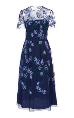 Carolina Herrera Sequined Sheer-Paneled Organza Midi Dress