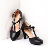 Unique Vintage Vintage Style Black Leatherette Round Toe T-Strap Heels Shoes