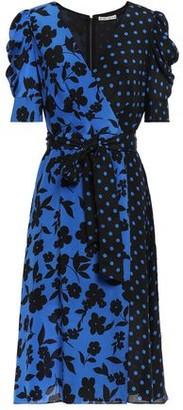Alice + Olivia Wrap-effect Printed Silk Crepe De Chine Dress