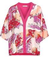 Emilio Pucci Floral-print Silk-twill And Wool Cardigan