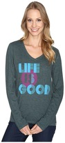 Life is Good Stripes Dot Long Sleeve Cool Vee Women's Long Sleeve Pullover