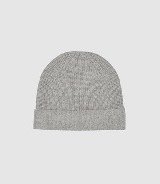 Reiss Harri - Wool Cashmere Blend Beanie in Grey