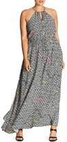 City Chic Tile Print Maxi Dress
