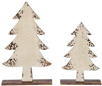 Transpac Wood White Christmas White Tree Decor Set of 2