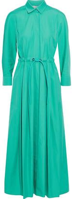 Max Mara Terra Gathered Cotton-poplin Midi Shirt Dress