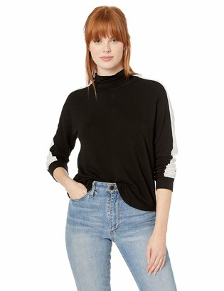 Monrow Women's Black Two Tone Supersoft Turtleneck Large